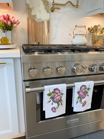 Floral Kitchen Towel Purple-Inspire Me! Home Decor