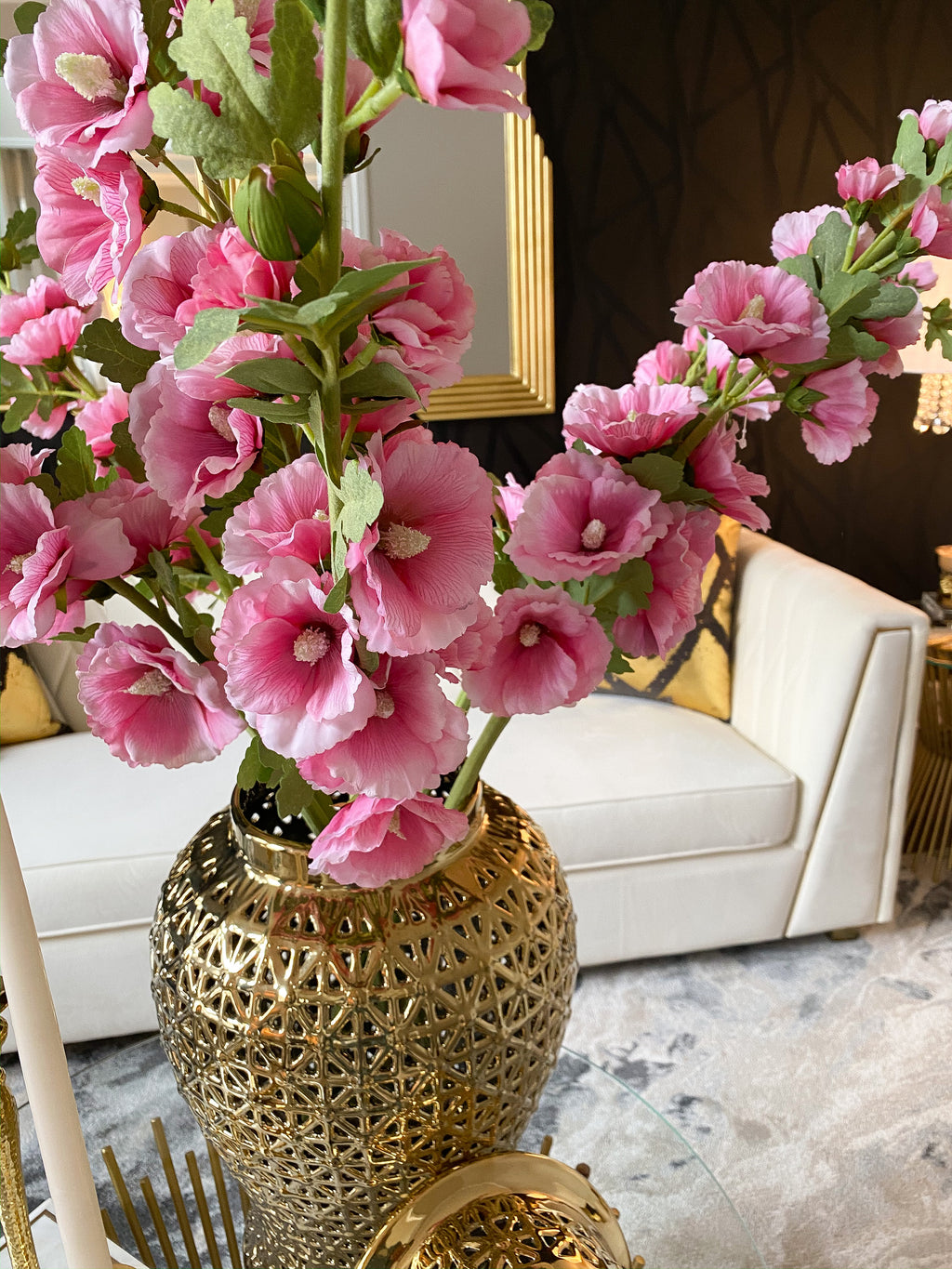 Hollyhock Stems (3 Colors)-Inspire Me! Home Decor