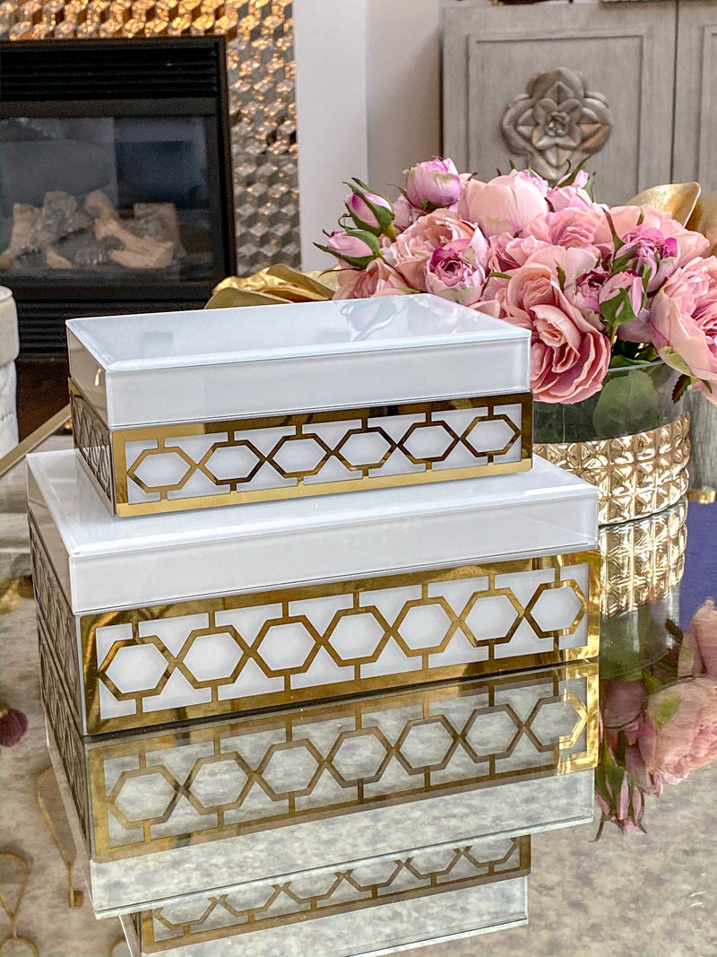 (Set of 2) White And Gold Decorative Box