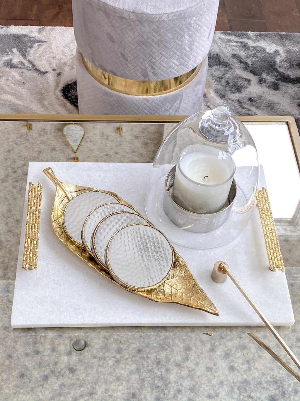 White Marble Tray With Gold Mosaic Handles Inspire Me Home Decor