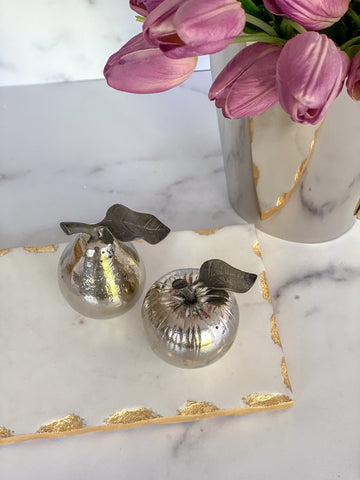 Silver Apple and Pear Salt & Pepper Shakers-Inspire Me! Home Decor