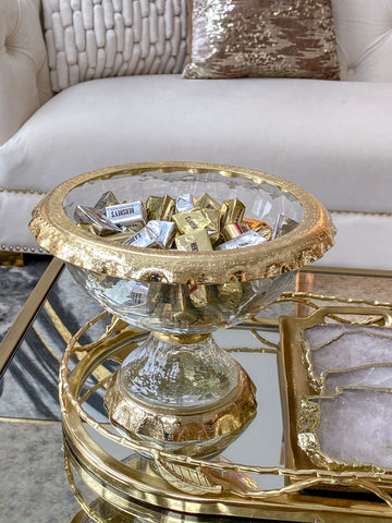 Glass & Gold Metal Bowl-Inspire Me! Home Decor