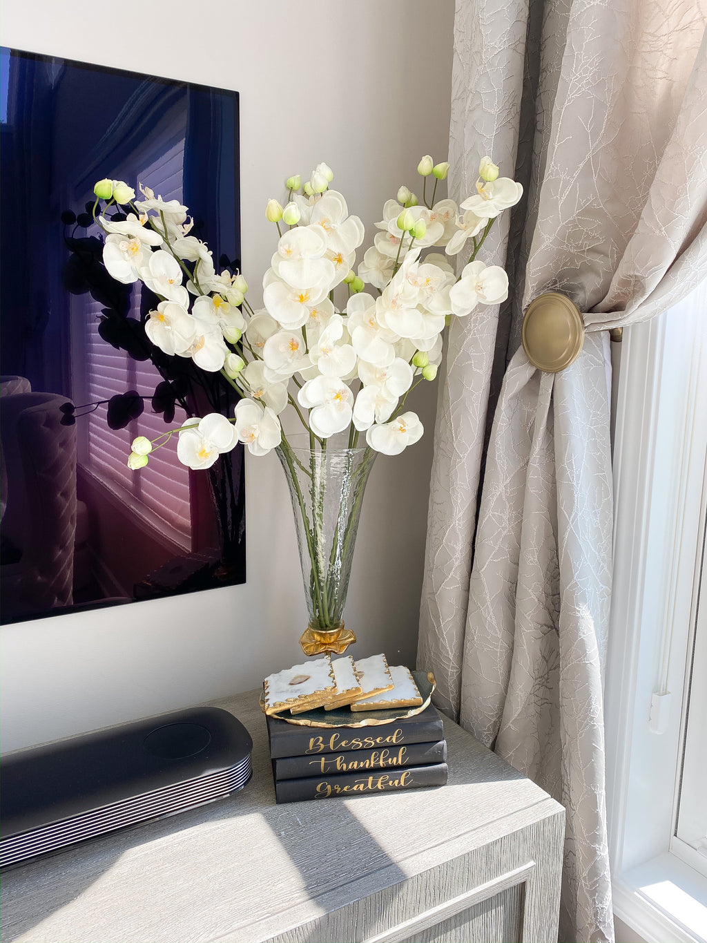Real Touch Tall White Orchid Stem