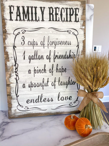 "Whitewash ""Family Recipe"" Wall Plaque-Inspire Me! Home Decor"