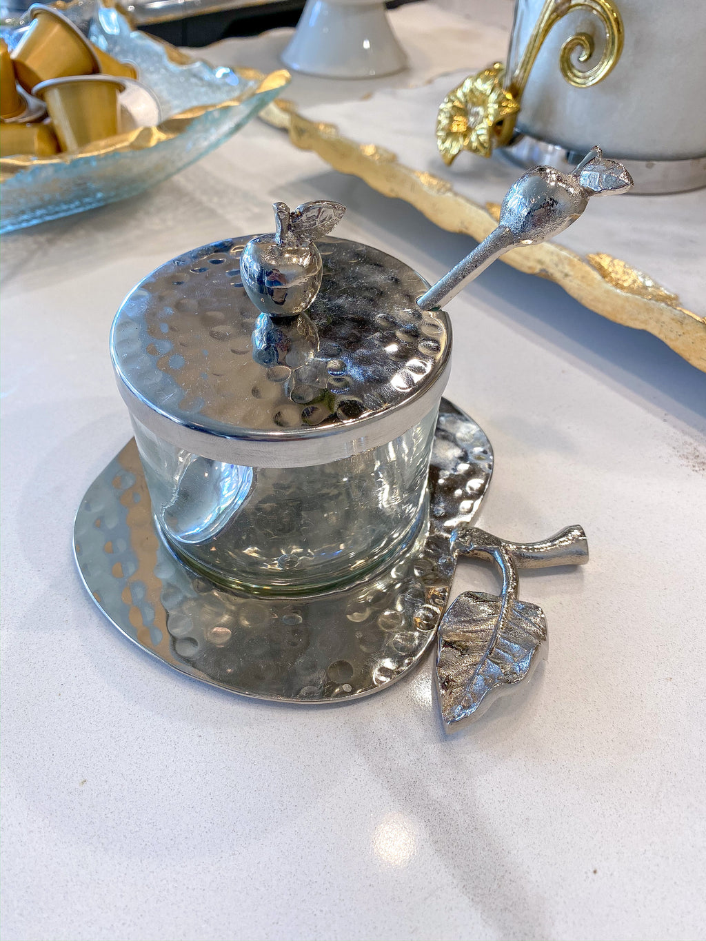 Glass Honey Dish with Silver Apple Tray, Lid, and Spoon-Inspire Me! Home Decor