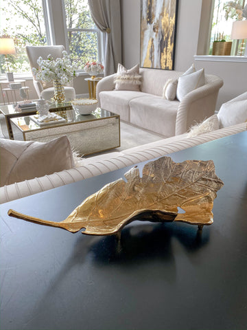 Gold Ombré Folding Leaf Tray-Inspire Me! Home Decor