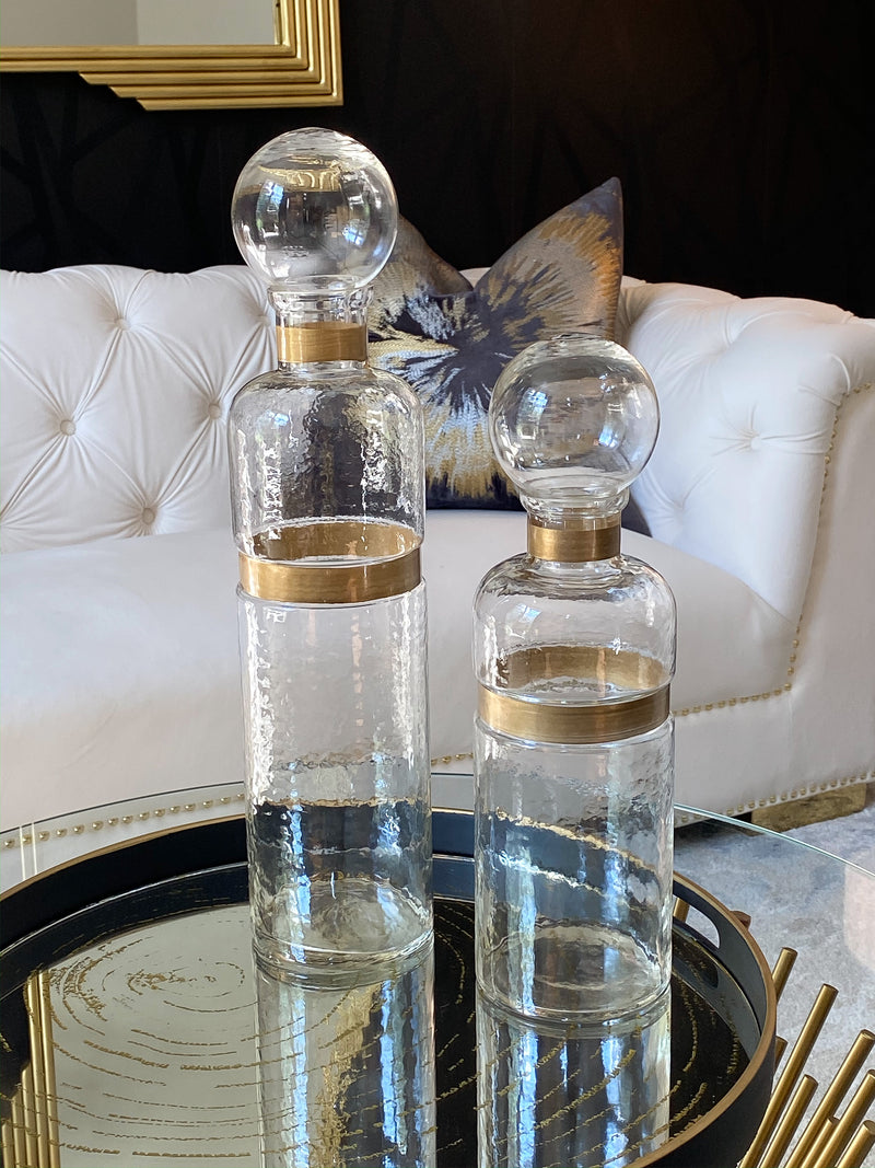 Glass Bottle with Gold Detail - 2 Sizes