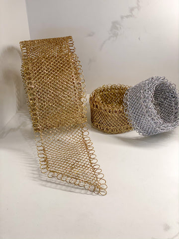 Gold Wire Mesh Ribbon (2 Sizes)-Inspire Me! Home Decor