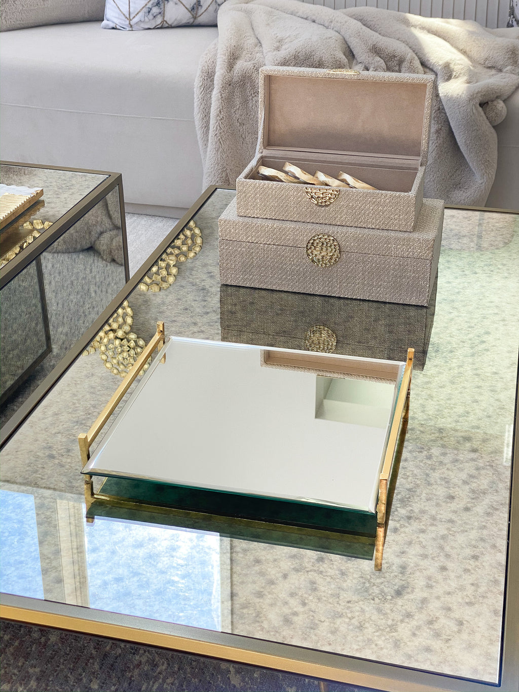 Square Mirror Tray w/ Gold Handles-Inspire Me! Home Decor