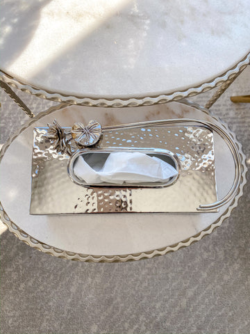 Silver Tissue Box Holder with Floral Detail-Inspire Me! Home Decor