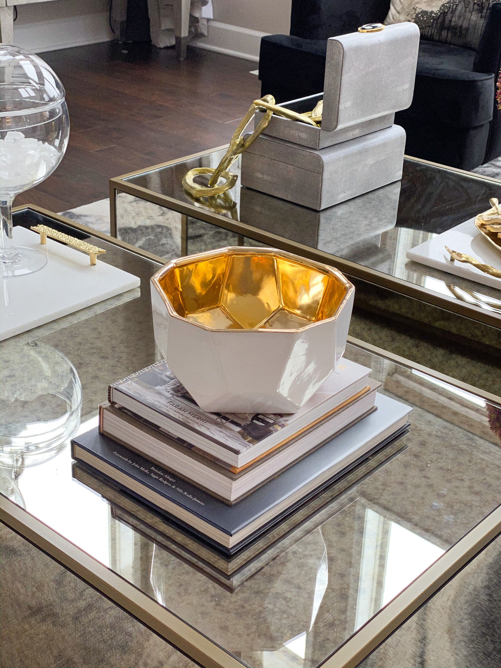 White Geometric Bowl with Gold Metallic Center-Inspire Me! Home Decor