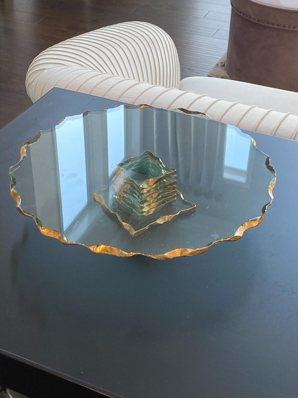 Stacked Glass Cake Stand with Textured Gold Rim ( 2 sizes )