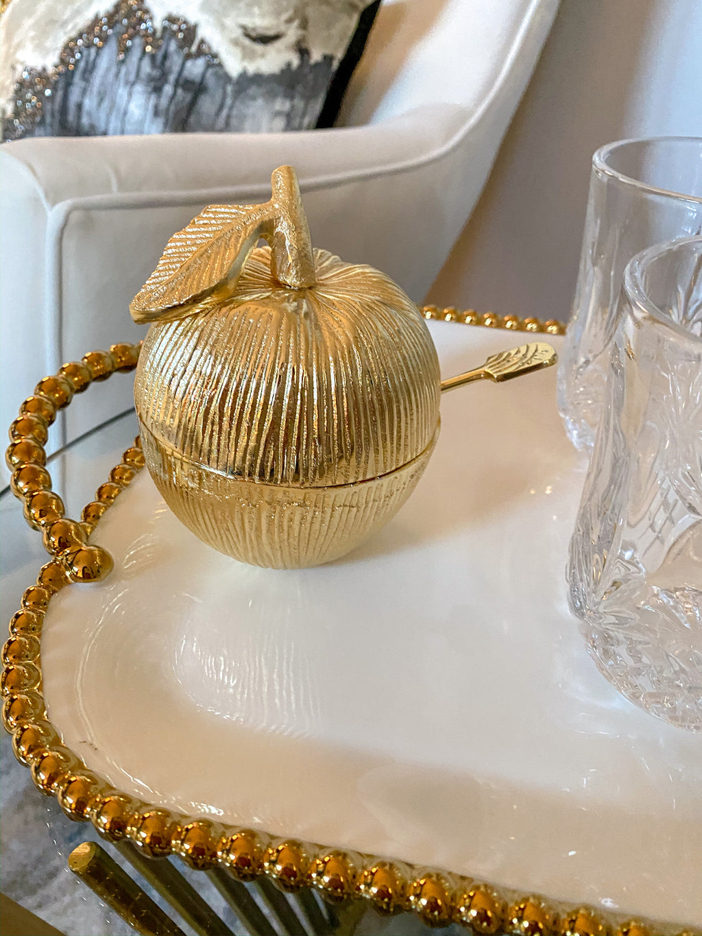 Gold Apple Honey Jar with Spoon