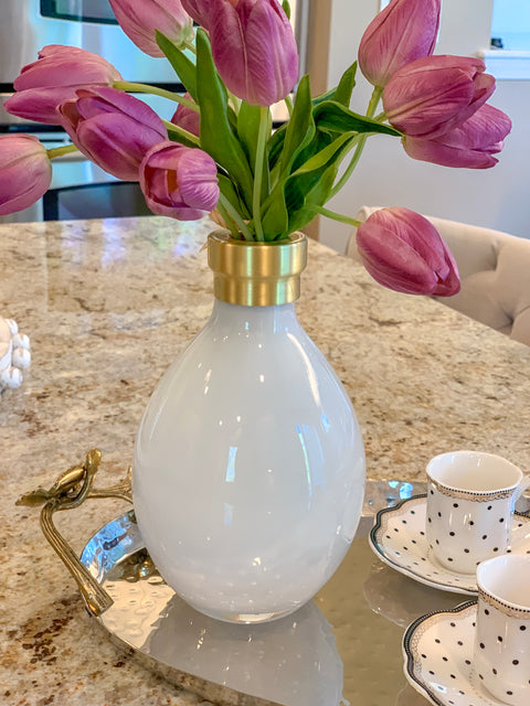 White Vase With Brass Rim