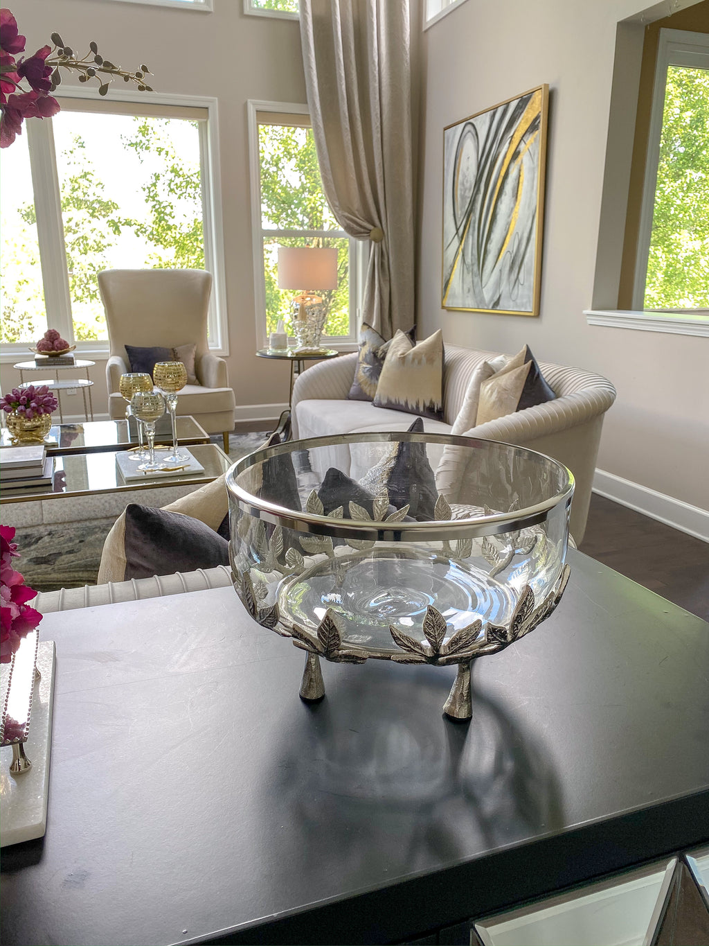Oversized Glass Bowl with Silver Floral Stand