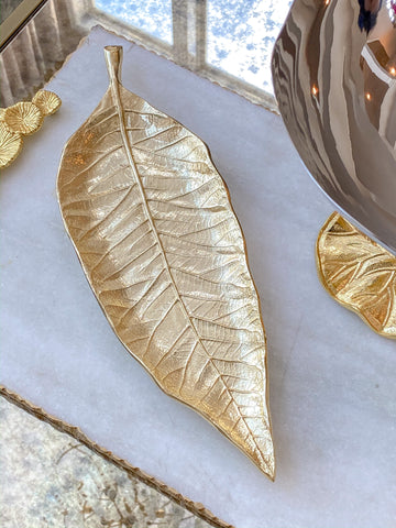 Long Slim Gold Metal Leaf Tray-Inspire Me! Home Decor