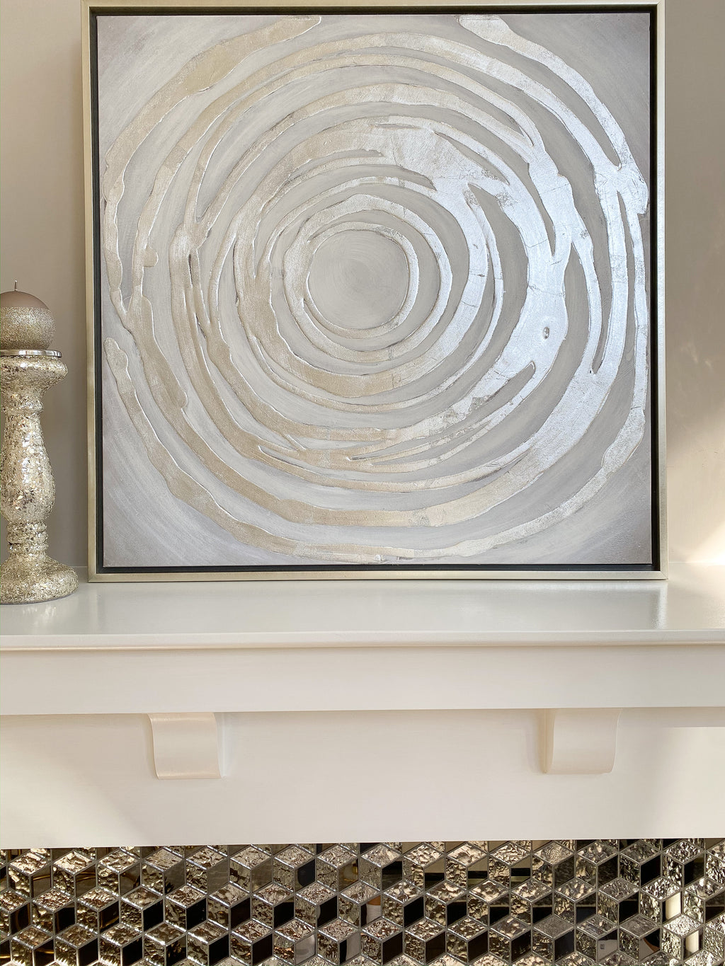Metallic Silver Spiral Wall Art-Inspire Me! Home Decor