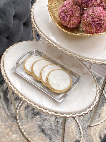 Silver Metal Rectangle Tray-Inspire Me! Home Decor