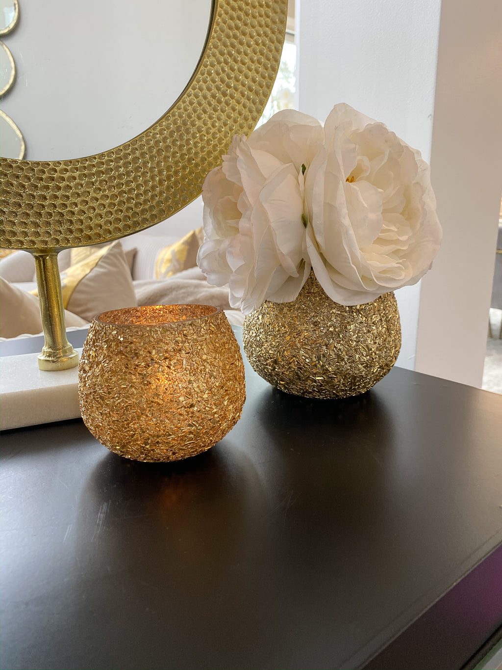Gold Jeweled Votive (2 Sizes)-Inspire Me! Home Decor