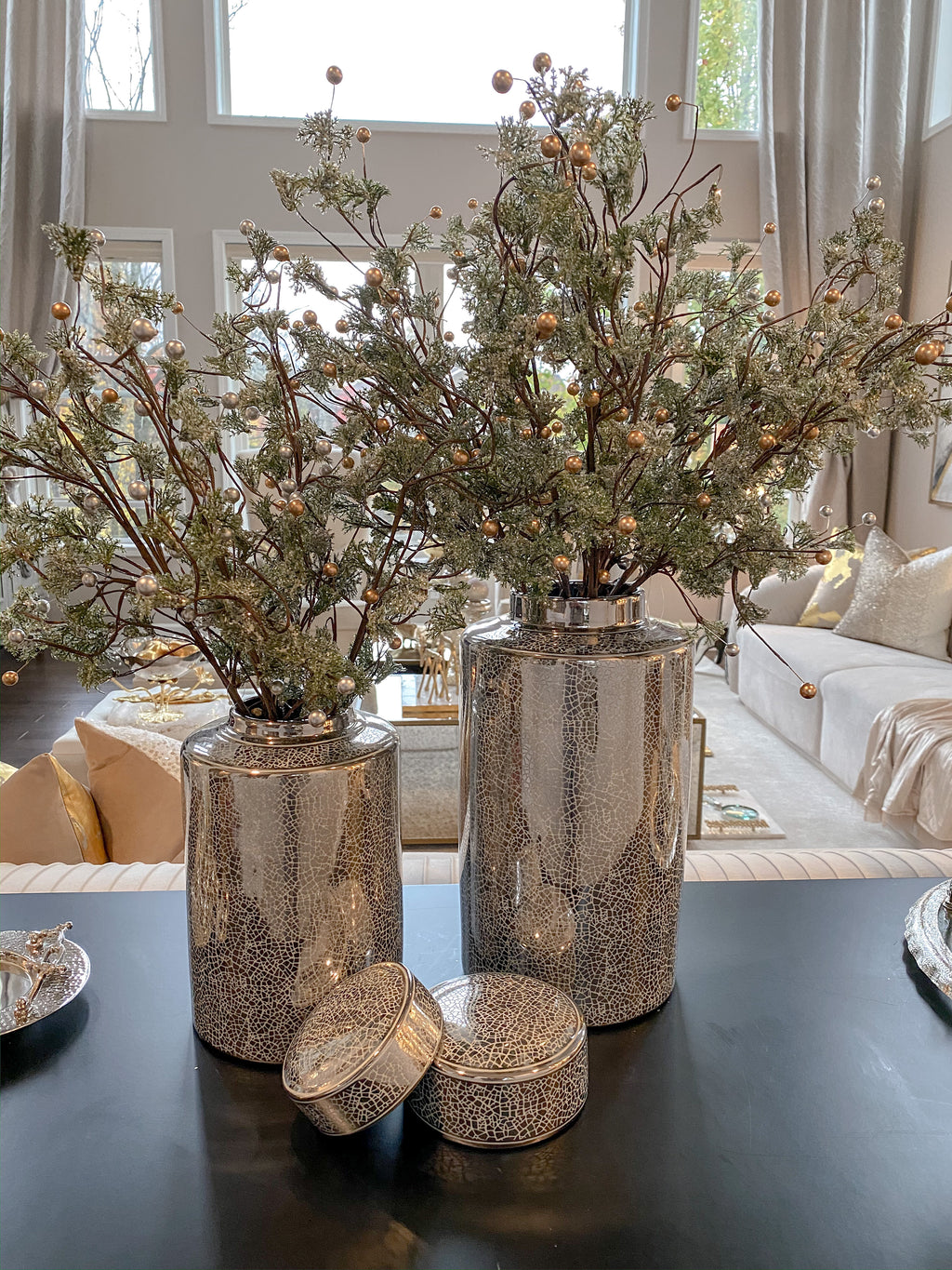 Flocked Pine and Gold Pearl Stem-Inspire Me! Home Decor