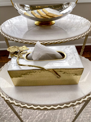 Gold Tissue Box w/ White Enamel and Floral Design-Inspire Me! Home Decor