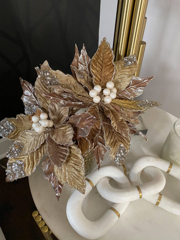 Poinsettia Stem with Silver Sequins and Pearls-Inspire Me! Home Decor