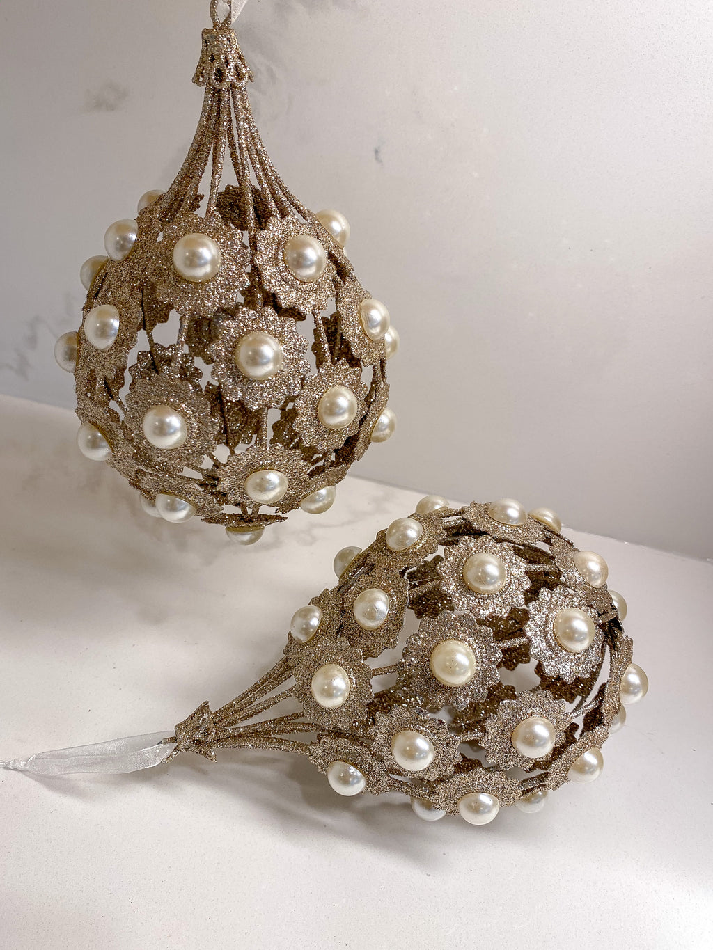 Metallic Pearl Ornament/ Orb-Inspire Me! Home Decor