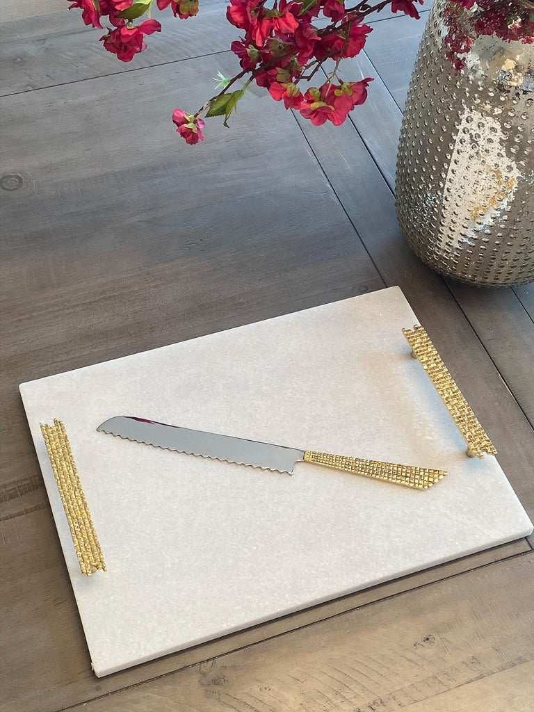 White Marble Tray With Gold Mosaic Handles Shop Inspire