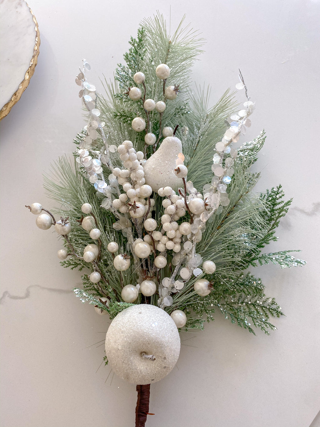 White Pine Spray with Apples & Berries-Inspire Me! Home Decor