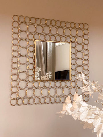 Wall Mirror with Gold Circle Design Frame-Inspire Me! Home Decor