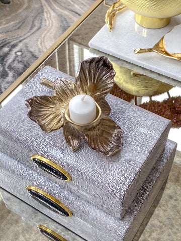 Gold Orchid Tea Light Holder-Inspire Me! Home Decor