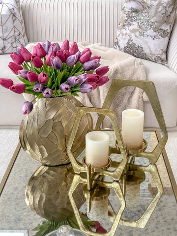 Gold Geometric Candle Holder (2 Sizes)-Inspire Me! Home Decor