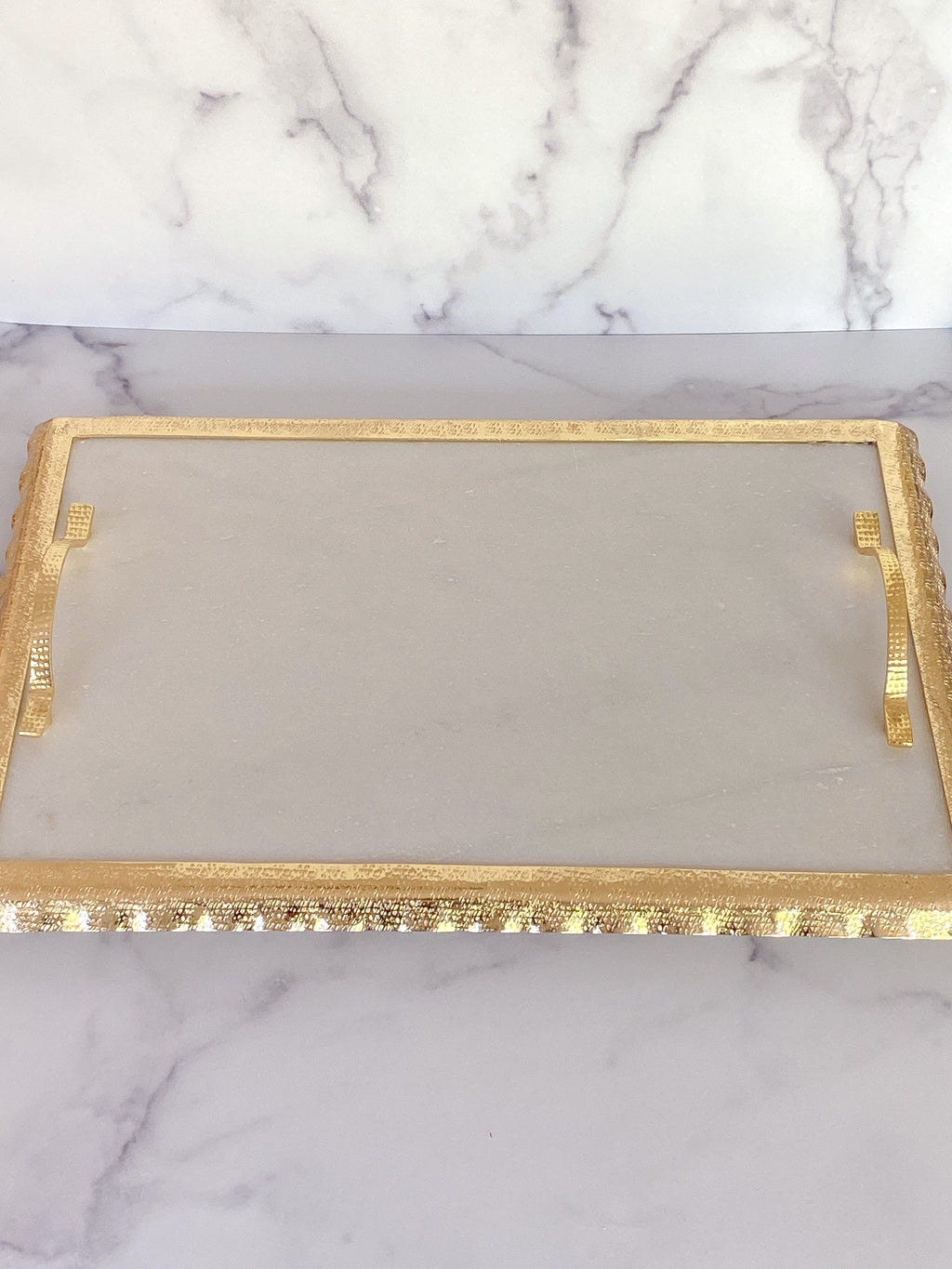 Marble Tray with Gold Handles and Border-Inspire Me! Home Decor