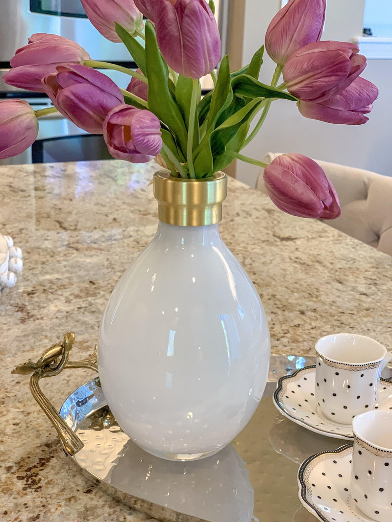 Imperfect White Vase With Brass Rim