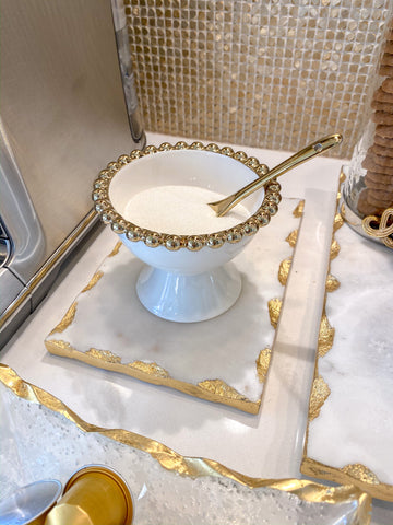 Gold Beaded Snack Bowl w/ Spoon-Inspire Me! Home Decor