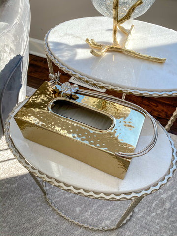 Gold Tissue Box Holder with Floral Detail-Inspire Me! Home Decor
