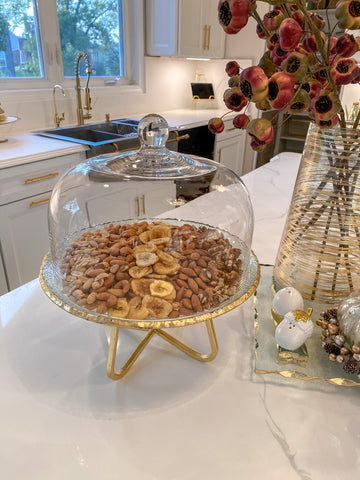 Glass and Gold Cake Stand and Dome-Inspire Me! Home Decor