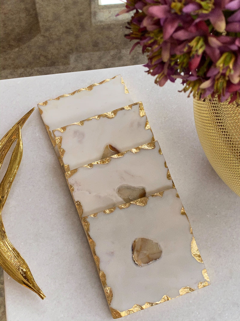 Marble Gold Edge Coaster Set with Agate Center