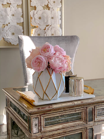 Geometric Gold and White Vase-Inspire Me! Home Decor