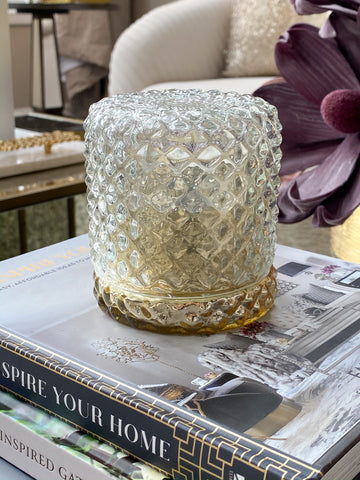 Coverlet Glass Candle with Gold base-Inspire Me! Home Decor