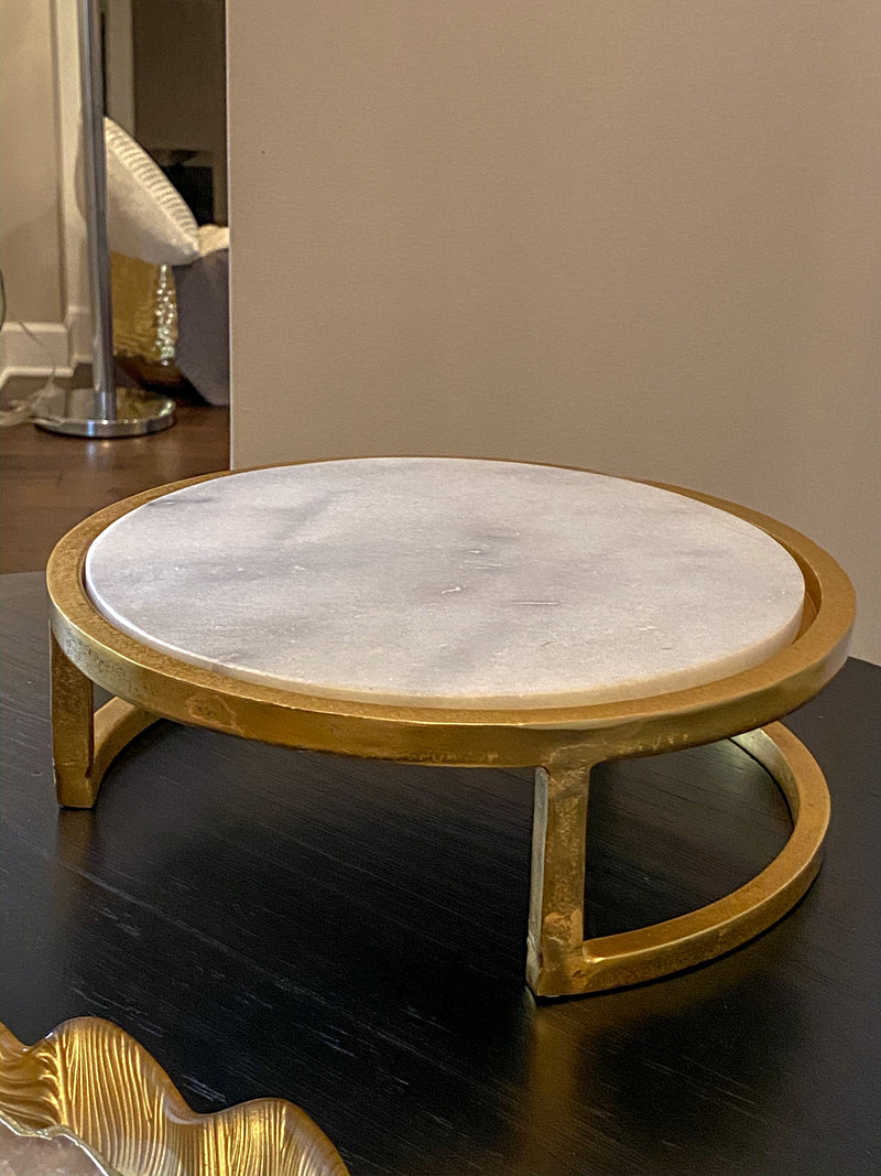 Round Marble Tray Stand