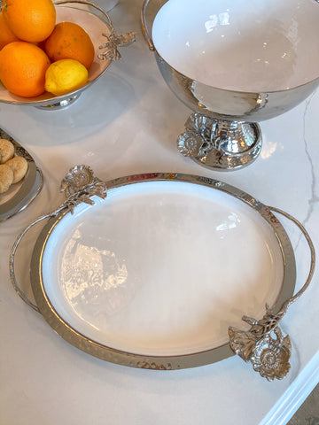 Silver White Enamel Oval Tray w/ Floral Design-Inspire Me! Home Decor