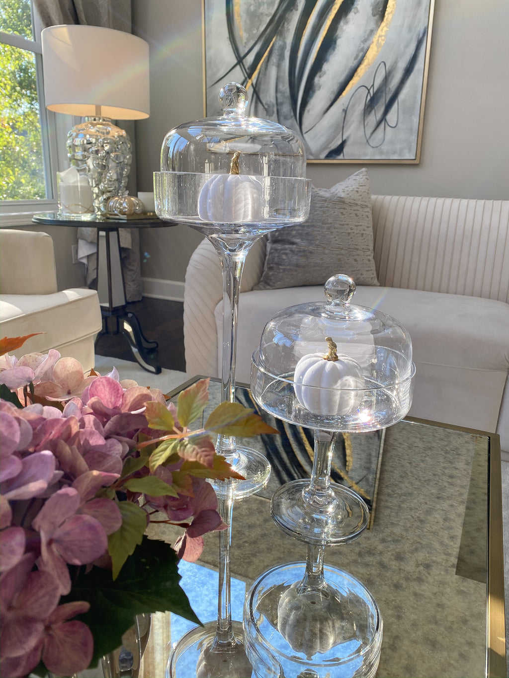 Clear Glass Stem Cake Stands with Dome (2 Sizes)-Inspire Me! Home Decor