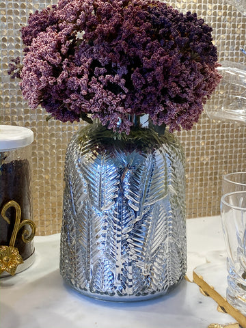 Silver Glass Leaf Pattern Vase-Inspire Me! Home Decor