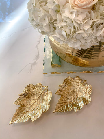 Set of 2 Gold Metal Maple Leaf Dishes-Inspire Me! Home Decor