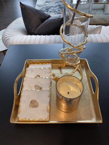 Square Gilded Texture Tray-Inspire Me! Home Decor