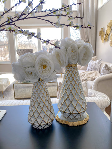 Gold and White Lattice Tapered Vase (2 Sizes)-Inspire Me! Home Decor
