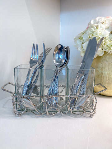 Hammered Glass Silverware Holder w/ Silver Leaf Detail-Inspire Me! Home Decor