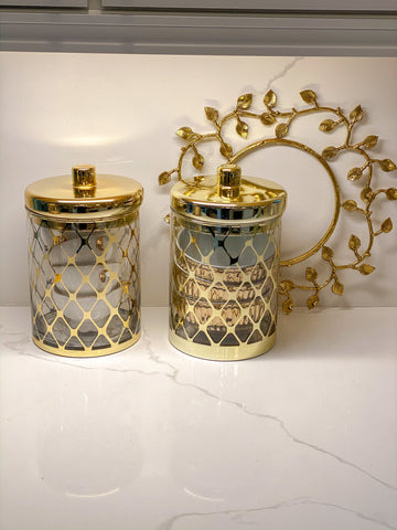 (2 Sizes & 2 Colors) Glass Jar w/ Gold Lid-Inspire Me! Home Decor