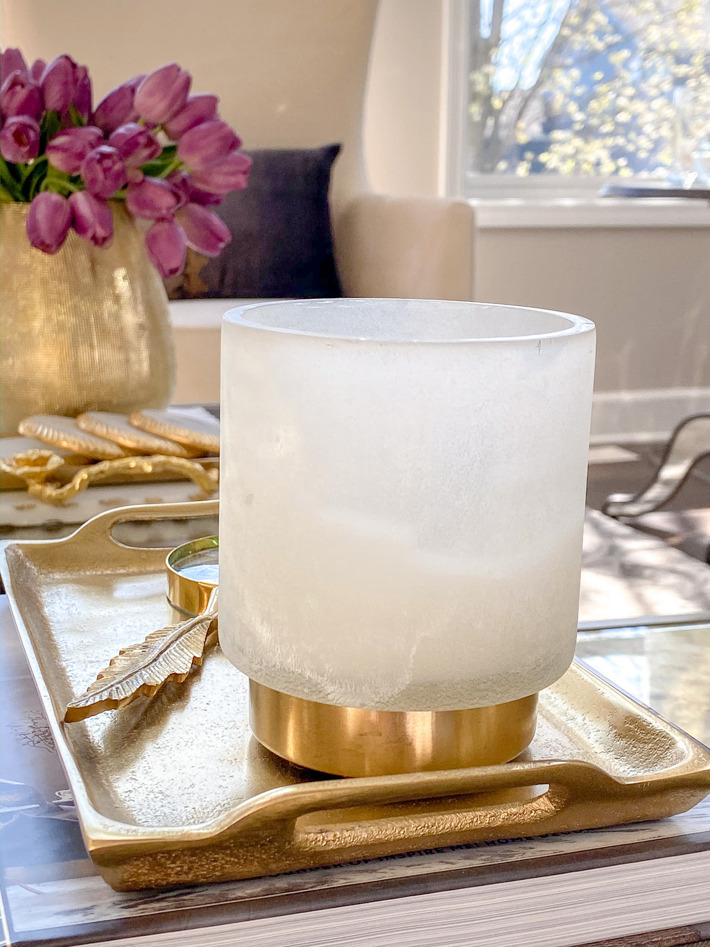 Scented Candle with Gold Detailing (2 Scents)-Inspire Me! Home Decor